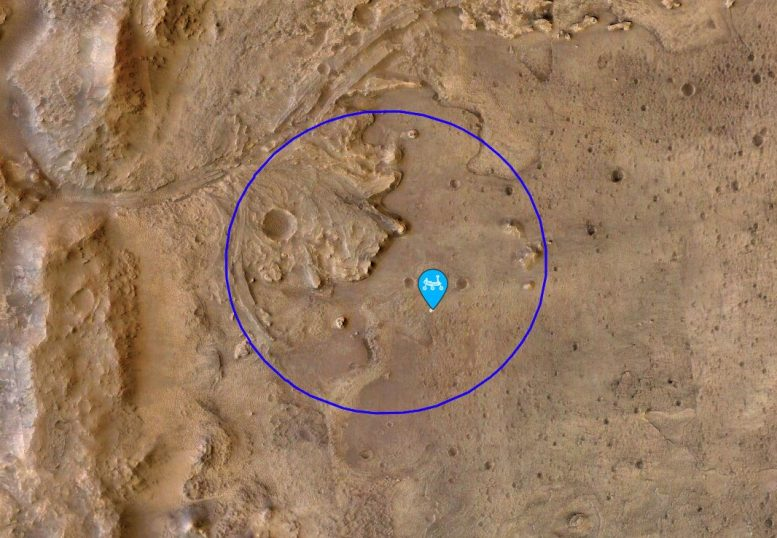 Perseverance Mars Rover Location of first sample