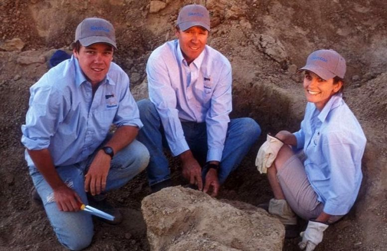 Sandy Mackenzie Excavating Dinosaur Bone