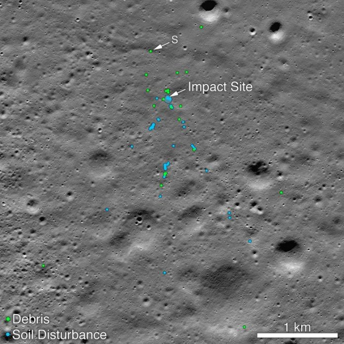 Vikram Lander Impact Point and Debris Field