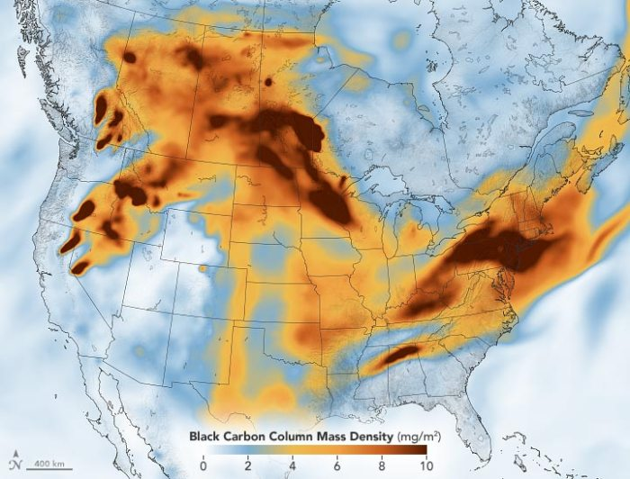 Wildfire Smoke Black Carbon Western North America July 2021 Annotated