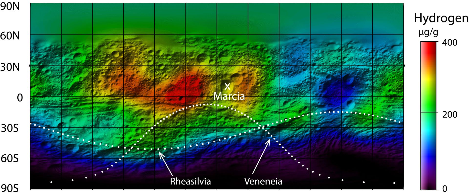 This map from NASA's Dawn mission shows the global distribution of hydrogen on the surface of the giant asteroid Vesta. Image credit: NASA/JPL-Caltech/UCLA/PSI/MPS/DLR/IDA