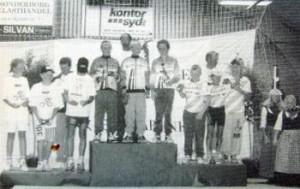 Christian Christiansen, Armin Rotzler, Torben Ternstrøm og Lasse Johannsen øverst på podiet til LM 1995.