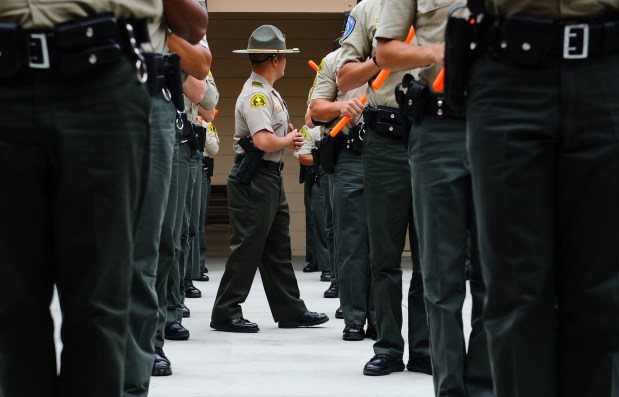 The San Bernardino County Sheriff's Department's tactic staff trains cadets aspiring to join law enforcement agencies at the department's Frank Bland Regional Training Center in September 2017.(Photo by Rachel Luna, The Press-Enterprise/SCNG)