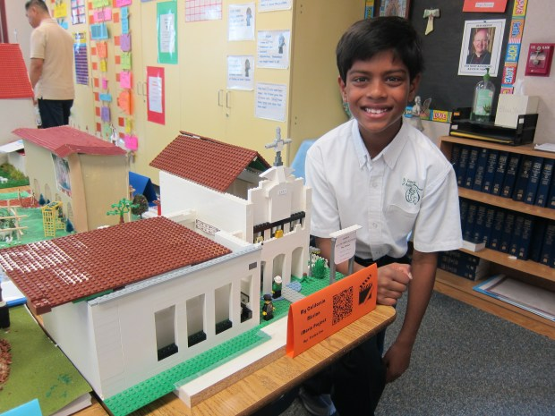 Anaheim Hills gradeschooler Tristen Leo recently built a Lego replica of Mission San Luis Obispo for a school project. (Courtesy of the Leo Family)