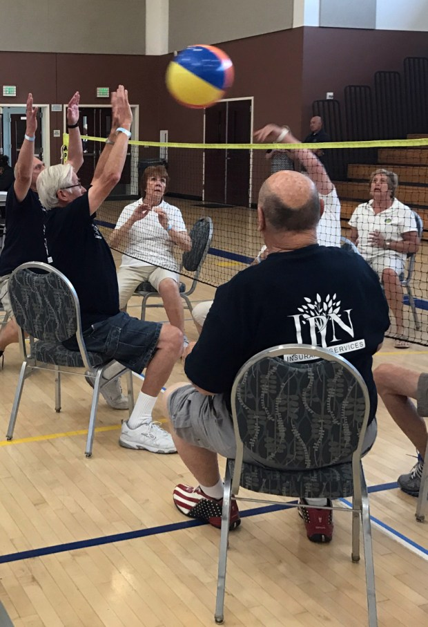 Seniors take part in the Riverside County senior chair volleyball tournament on Friday, April 7, 2017, at the Orange Terrace Community Center in Riverside. Courtesy of Margaret Koeppen