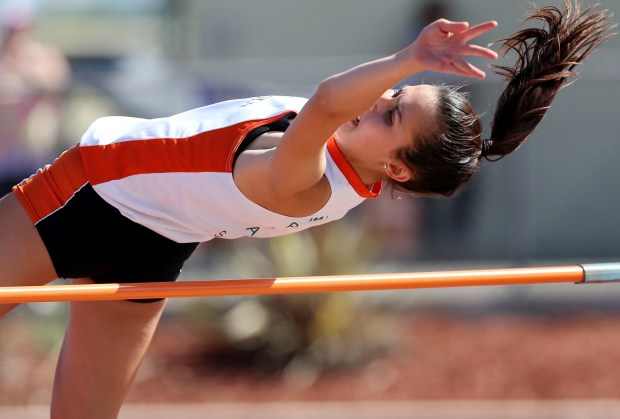 Riverside Poly's Abigail Burke competes in the girls high jump during the Raincross Tradition/Riverside City Championship High School Track & Field meet at King High School in Riverside Saturday, Apr.15, 2017. FRANK BELLINO, THE PRESS-ENTERPRISE/SCNG