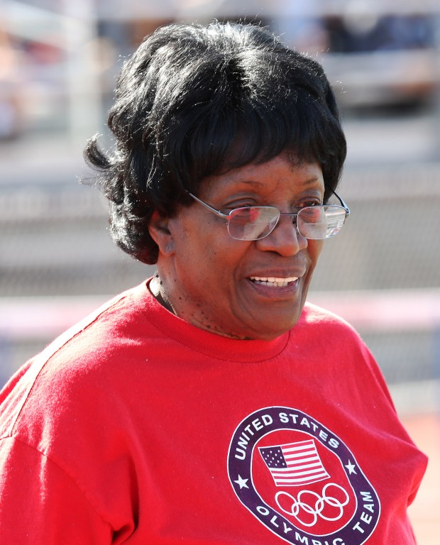 Track and field legend Rosie Bonds hands out awards during the Raincross Tradition/Riverside City Championship High School Track & Field meet at King High School in Riverside Saturday, Apr.15, 2017. FRANK BELLINO, THE PRESS-ENTERPRISE/SCNG