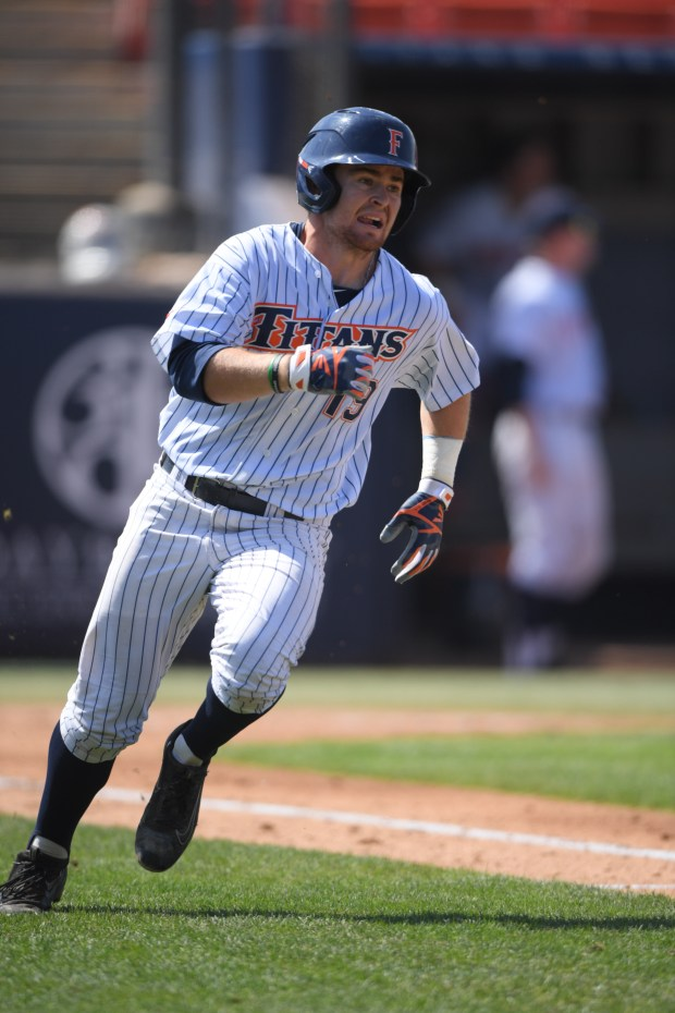 Dillon Persinger is a first baseman for Cal State Fullerton. (Photo courtesy Matt Brown)