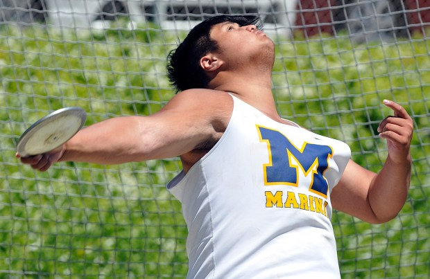 Marina's Kyle Tsu competes in the boys discus during the Orange County Track and Field Championships Saturday, April 22, 2017 at Mission Viejo High school.(Photo by Michael Fernandez, Contributing Photographer)