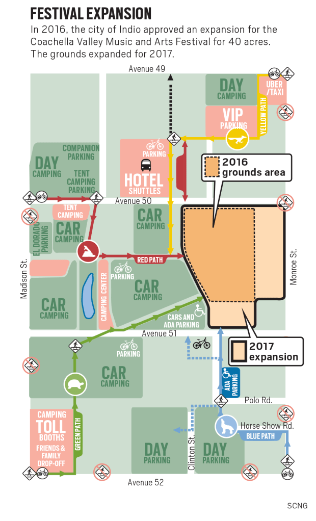 Map of the expansion of the Coachella Valley Music and Arts Festival grounds between 2016 and 2017