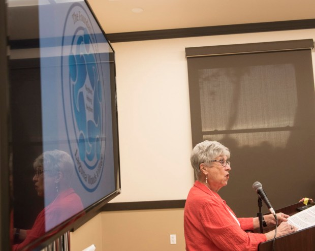Former president of The Foundation of Laguna Woods Village Marion Levine introduces the history of the organization during the 20th anniversary of the Foundation at Clubhouse Two in Laguna Woods on Thursday, April 27, 2017. (Photo by Kyusung Gong/Orange County Register/SCNG)