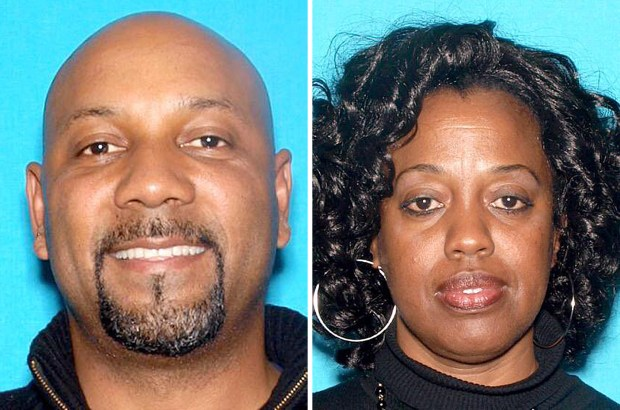 """Cedric Anderson, 53, of Riverside, left, was identified by the San Bernardino Police Department as the gunman in the North Park Elementary school shooting Monday, April 10, 2017, while teacher Karen Smith, 53, was identified as his """"estranged wife"""" and intended victim. (Photos courtesy of San Bernardino Police Department)"""
