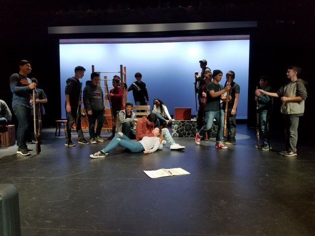"""Students rehearse for Beaumont High School's rendition of """"Les Miserables."""" Courtesy of Beaumont High School theater department"""