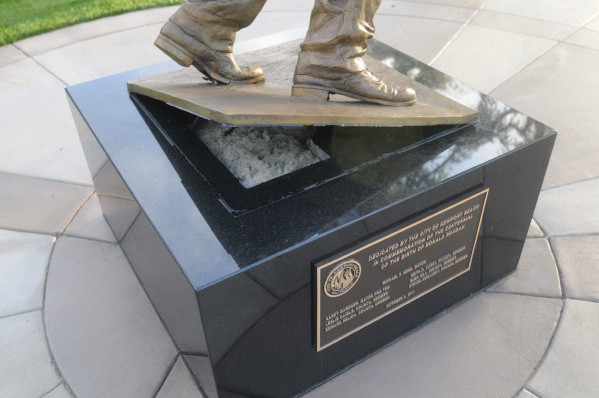 Damaged base of the Ronald Reagan statue in Bonita Canyon Sports Park at end of Ford Road in Newport Beach Sunday morning, November 6. Vandals in the early Sunday morning tried to topple the statue. Newport Beach Police Department is investigating.ADDITIONAL INFO:reaganstatue.03-11/06/11-Photo by RICHARD KOEHLER FOR THE ORANGE COUNTY REGISTER