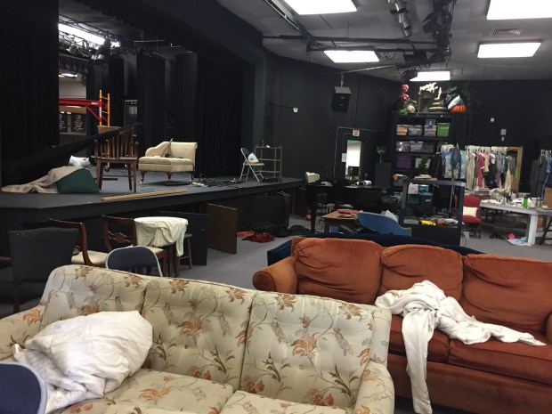 The theater stage at Brethren Christian High School doubles as a the theater classroom and prop storage area between shows. (Photo by Kaitlin Wright, staff)