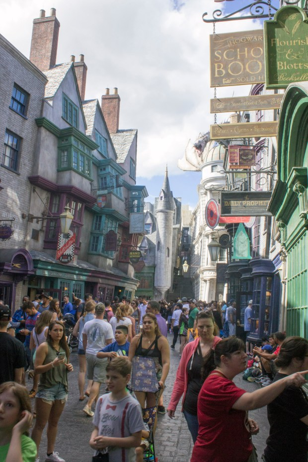 Diagon Alley at Universal Studios Orlando is based on the Harry Potter books and movies. The land opened in 2016 and contains shops and restaurants based on both. The land is very immersive in that there are no outside visual references to take visitors away from the belief that they are in the alley, immersing them in the land. (Photo by Mark Eades, Orange County Register/SCNG)