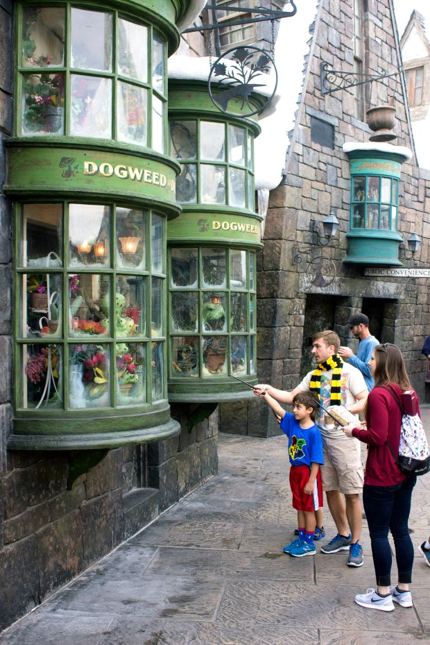 """A young """"wizard"""" attempts to perform some magic with their wand by doing just the right move with the wand pointed at the window display in Hogsmeade, part of the Wizarding World of Harry Potter at Universal's Islands of Adventure. (Photo by Mark Eades, Orange County Register/SCNG)"""