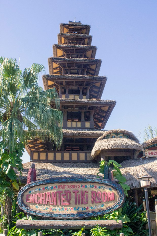 The entrance to Walt Disney's Enchanted Tiki Room in Adventureland at the Magic Kingdom of Walt Disney World is beneath a structure emulating a Polynesian Ceremonial House. (Photo by Mark Eades, Orange County Register/SCNG)