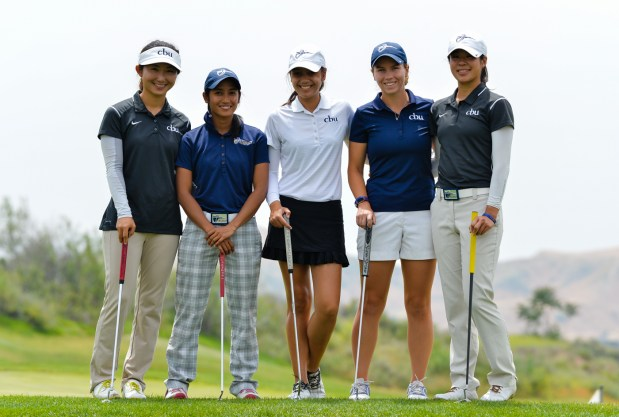 (Left to right) Cal Baptist University women's golf team Natalie Park, 23, Marvi Monsalve, 22, Sam Martirez, 18, Laura Scrivner, 22, and Erica Wang, 20, practice for the NCAA regionals at Morongo Golf Club at Tukwet Canyon in Beaumont.