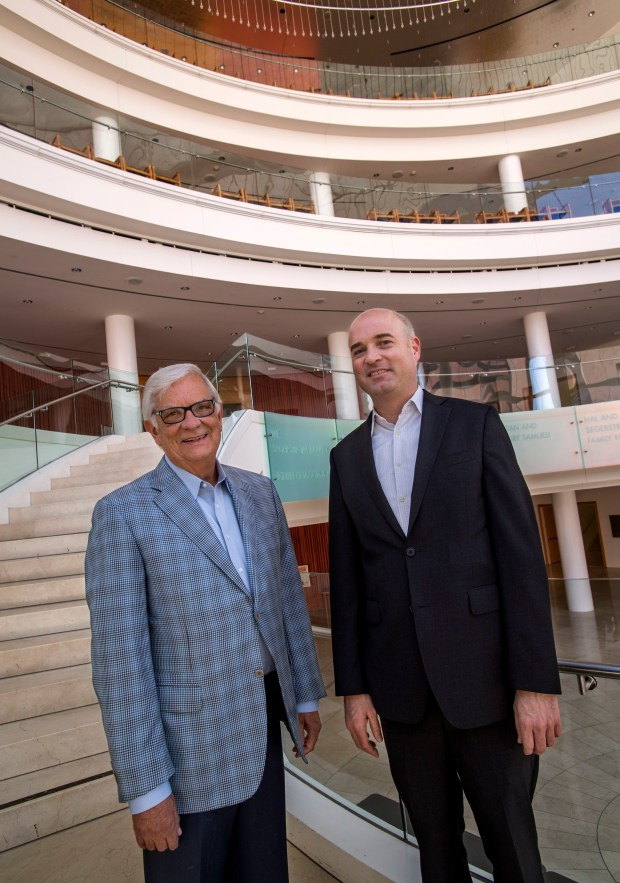 Retiring Artistic Director of the Pacific Chorale John Alexander, left, with his successor Robert Istad in Costa Mesa on Tuesday, May 2, 2017. Istad will replace Alexander as artistic director when Alexander steps down in June after 45 years. (Photo by Paul Rodriguez, Orange County Register/SCNG)