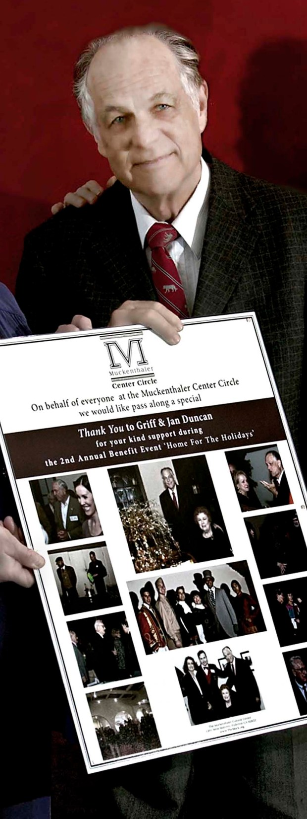"In 2012, the Muckenthaler Center Circle acknowledged the generous support of Fullerton Civic Light Opera Directors Griff Duncan, shown, with a poster highlighting the ""Home for the Holidays Benefit."" (Courtesy of Randall Chambers)"