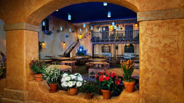 The interior dining spaces of the Pecos Bill Tall Tale Inn and Cafe reflects the Mexican and Texas adobe architectural styles at this Frontierland restaurant in the Magic Kingdom of Walt Disney World that is a counter service restaurant serving Mexican and Tex Mex cuisine. (Photo courtesy: Walt Disney World Resort)