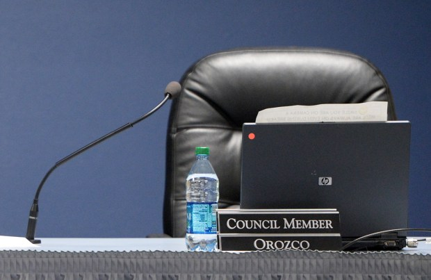 Councilman Mark Orozco's chair sits empty during the city council meeting on Tuesday, May 16, 2017 at Beaumont City Hall in Beaumont, Ca. Orozco was recently indicted by a grand jury on charges of bribery and perjury. (Micah Escamilla, Redlands Daily Facts/SCNG)