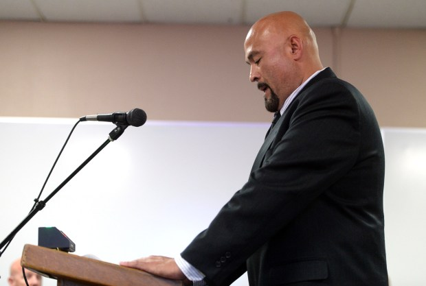 Beaumont resident Daniel Marmolejo requests that Councilman Mark Orozco, not in attendance, steps down form his role during the public comment portion of the city council meeting on Tuesday, May 16, 2017 at Beaumont City Hall in Beaumont, Ca. Orozco was recently indicted by a grand jury on charges of bribery and perjury. (Micah Escamilla, Redlands Daily Facts/SCNG)