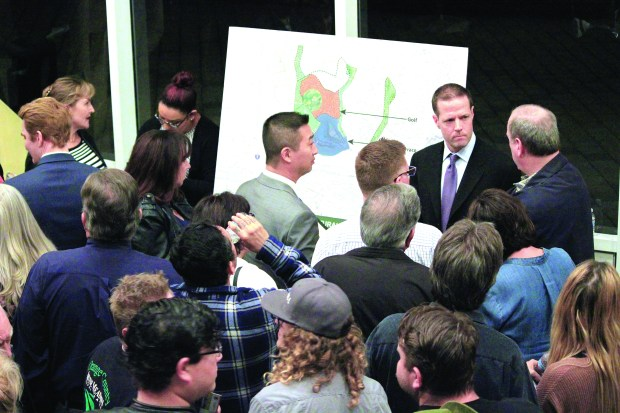 Pete Carmichael, director of the Orange County Great Park, takes questions from residents about the future development plans of the park during a community workshop Jan. 31, 2017, at Irvine City Hall. (Photo by Tomoya Shimura, Orange County Register/SCNG)