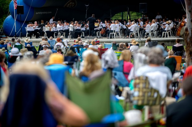 The Huntington Beach Concert Band will perform an evening of patriotic music on June 25 at Huntington Beach's Central Park. (File photo by Matt Masin, Orange County Register/SCNG)///ADDITIONAL INFORMATION :6/29/14 summerconcert.0630 .mm - MATT MASIN, STAFF PHOTOGRAPHER The Huntington Beach Concert Band will celebrate the season with its 41st annual Summer Series of 11 free Sunday concerts from June 22 to Aug. 31 in Huntington Beach's Central Park, 18000 Goldenwest St. All concerts will start at 5 p.m. On July 20 and July 27 at 4:15 p.m., the concerts will be preceded by 30 minutes of free swing dancing lessons. Here is the list of free summer concerts: June 29: Southern California Philharmonic Orchestra