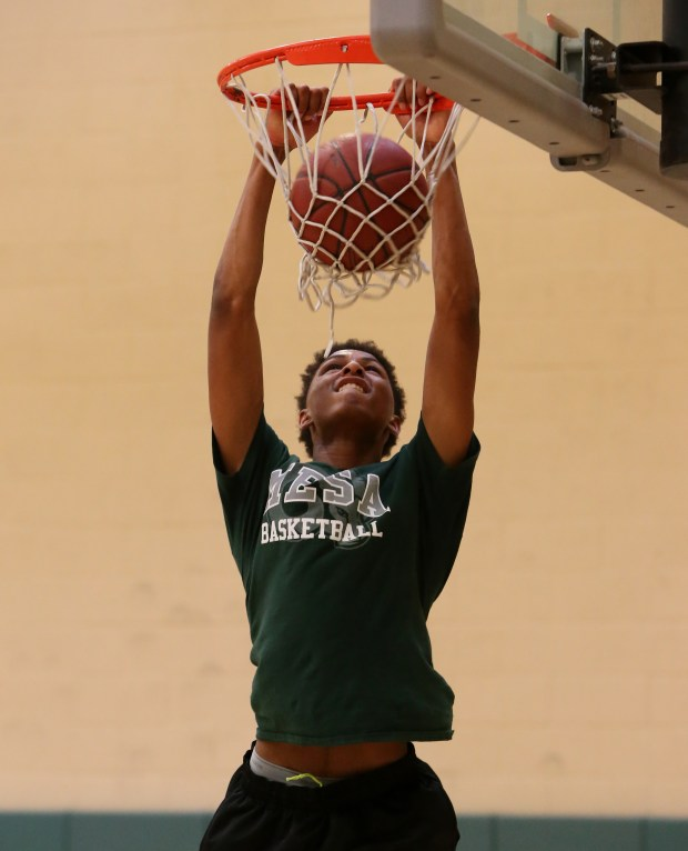 Murrieta Mesa's basketball player Shamar Wright drives to the basket during their summer basketball practice at Murrieta Mesa High School in Murrieta Wednesday, May 24, 2017. FRANK BELLINO, THE PRESS-ENTERPRISE/SCNG