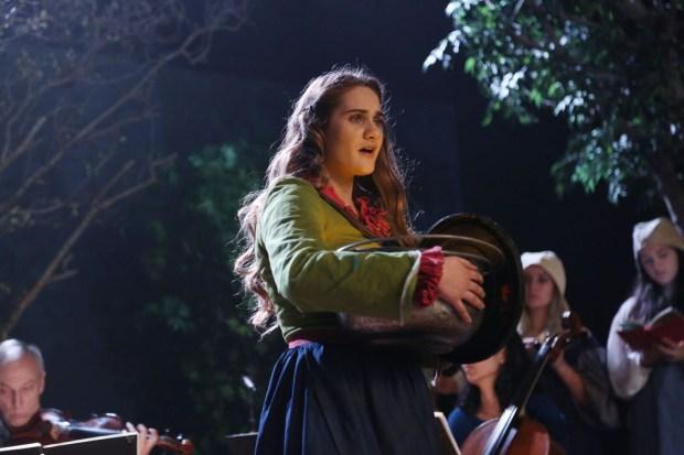 "Soprano Rowen Sabala (Vireo) in episode 1 of ""Vireo,"" shot at the Yost Theater in Santa Ana. (Photo courtesy of Remsen Allard)"