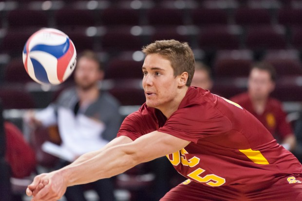 San Clemente High graduate Lucas Yoder helped the 2017 USC Trojans mens volleyball team double their win total from the previous year (Troy was 14-14 overall this year) and earn a berth in the MPSF Tournament after a year's hiatus. JOHN MCGILLEN/USC