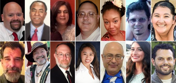 Victims of the December 2, 2015, mass shooting at the Inland Regional Center in San Bernardino.Top row, left to right, Robert Adams, 40, of Yucaipa; Isaac Amanios, 60, of Fontana; Bennetta Bet-Badal, 46, of Rialto; Harry Bowman, 46, of Upland; Sierra Clayborn, 27, of Moreno Valley; Juan Espinoza, 50, of Highland, and Aurora Godoy, 26, of San Jacinto. Bottom row, left to right; Shannon Johnson, 45, of Los Angeles; Larry Daniel Kaufman, 42, of Rialto; Damian Meins, 58, of Riverside; Tin Nguyen, 31, of Santa Ana; Nicholas Thalasinos, 52, of Colton; Yvette Velasco, 27, of Fontana; and Michael Raymond Wetzel, 37, of Lake Arrowhead. (Courtesy photos)