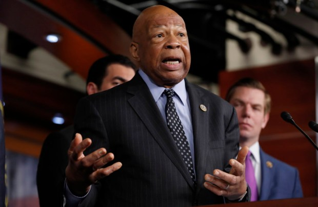Rep. Elijah Cummings, D-Md., ranking member on the House Oversight and Government Reform Committee, speaks during a news conference on Capitol Hill in Washington, Wednesday, May 17, 2017. (AP Photo/Alex Brandon) ORG XMIT: DCAB113