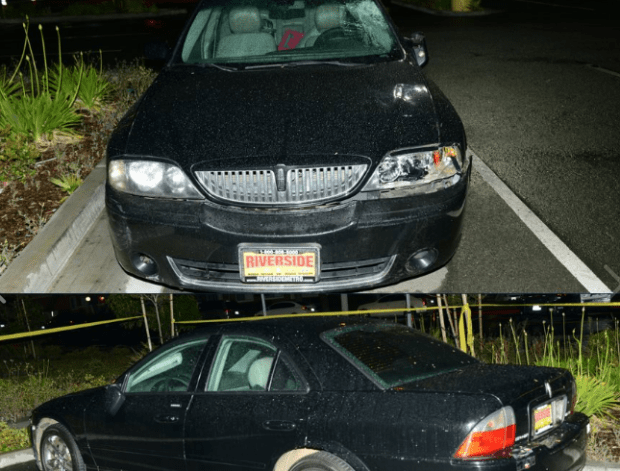 Corona police released photos of a black four-door 2006 Lincoln LS4 that they believe was involved in a hit-and-run that killed Jonathan Santos-Cantu, 20, of Corona on Saturday, May 6, 2017. The car was found disabled in a nearby Wal-Mart parking lot. (Photos courtesy of Corona Police Department)