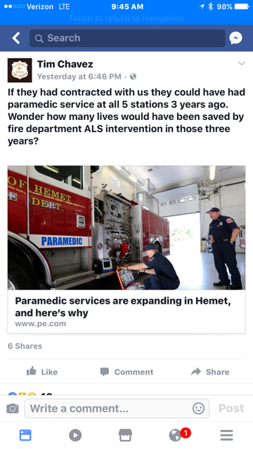 A posting on Facebook has led a Cal Fire official to apologize to the Hemet Fire Department.
