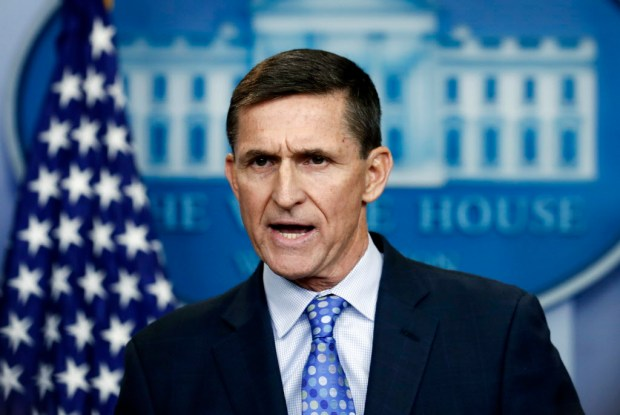 FILE- In this Feb. 1, 2017, file photo, then-National Security Adviser Michael Flynn speaks during the daily news briefing at the White House, in Washington. Flynn resigned as President Donald Trump's national security adviser on Feb. 13, 2017. (AP Photo/Carolyn Kaster, File) ORG XMIT: WX125