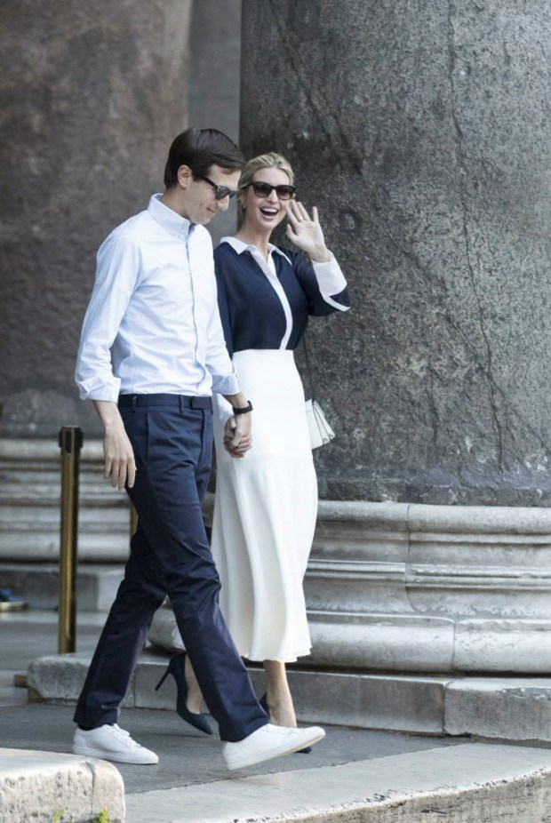 US President Donald Trump's assistant and daughter Ivanka Trump holds hands with her husband White House senior advisor Jared Kushner as they leave the Pantheon following a private visit, in Rome, Wednesday, May 24, 2017. (Massimo Percossi/ANSA via AP) ORG XMIT: ROM158