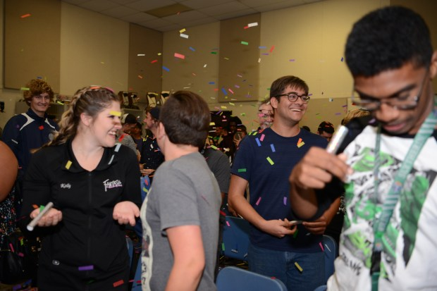 Band members celebrate the announcement of being selected to perform in the 2018 Macy's Parade on Thursday, May 11, 2017. (courtesy of Riverside Community College District)