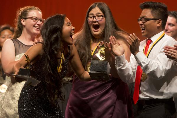 Fountain Valley High School critics react to winning the Critics' Team award at the Cappies Gala in 2014. (File photo by Drew A. Kelley, contributing photographer)