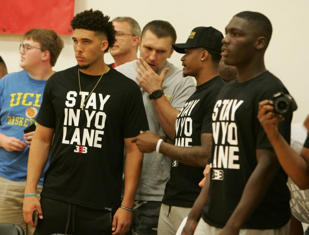 LiAngelo Ball, left, was among three UCLA basketball players arrested on suspicion of shoplifting in Hangzhou, China. (Photo by Jeffrey Parenti)