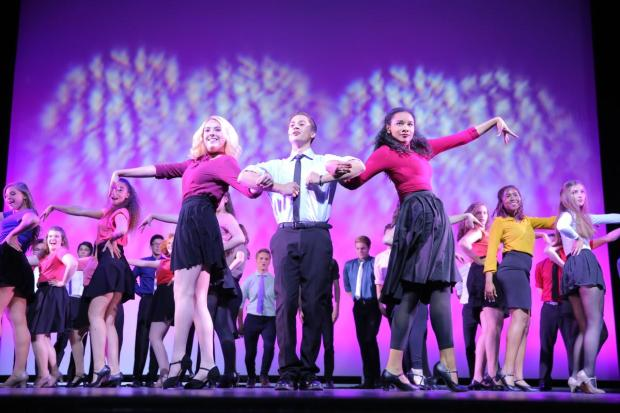 Students perform in the opening number of the Jerry Herman Awards at the Hollywood Pantages Theatre in 2014. (file photo: Orange County Register)
