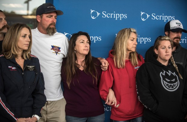 Family of Leeanne Ericson join together at a press conference at Scripps Memorial Hospital La Jolla about the condition of the shark attack victim at San Onofre State Beach in La Jolla, on Friday, May 5, 2017. (Photo by Nick Agro, Orange County Register/SCNG)