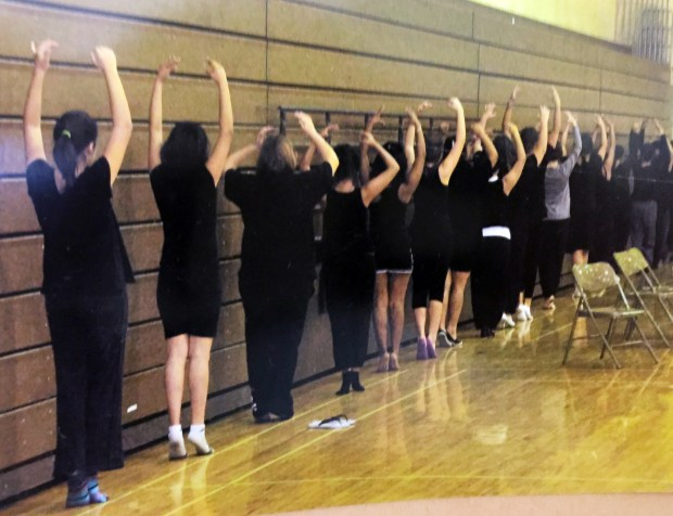 La Sierra High School dance students rehearse. The school's spring showcase celebrates 10 years of dance and will feature varying styles, from Brazilian to Bollywood and salsa to character routines. Courtesy of Jennifer Allen