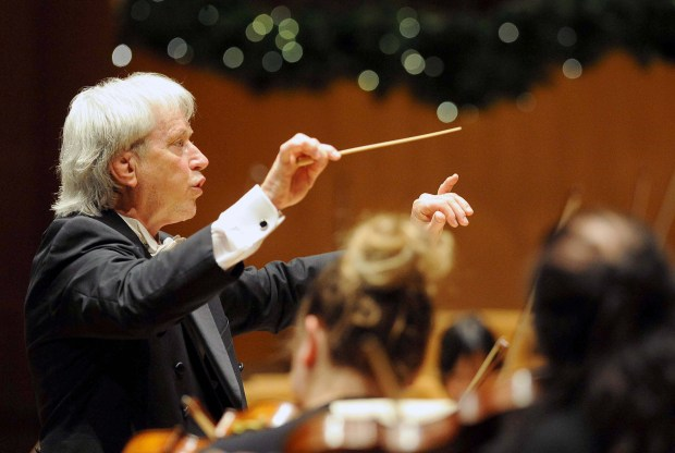 Carl St.Clair, shown conducting the Pacific Symphony on Dec. 1, 2016, led the orchestra through a triumphant performance of Mahler's Symphony No. 2 on Thursday, June 8, 2017. (File photo by Bill Alkofer, Orange County Register/SCNG)