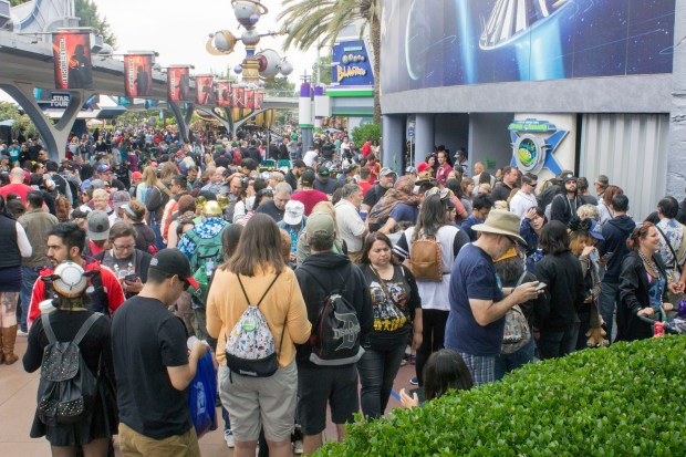 A crowded line of Star Wars fans line up to buy special merchandise on Star Wars Day, more commonly known at May the Fourth. (File photo by: Mark Eades, Orange County Register and Southern California Newsgroup)