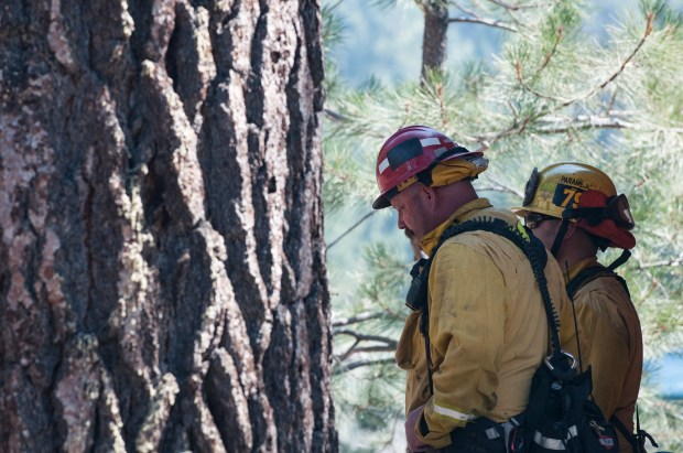 Fire crews keep watch on a ridge where the Zermatt fire was burning in Wrightwood on Saturday. (Sarah Alvarado, Contributing Photographer)