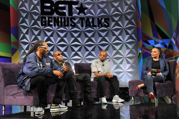 Recording artists Snoop Dogg, Birdman and Jermaine Dupri, and radio personality Angie Martinez (from left to right) speak during the Genius Talks during the 2016 BET Experience in downtown Los Angeles. (Photo by Jerod Harris, Getty Images for BET)