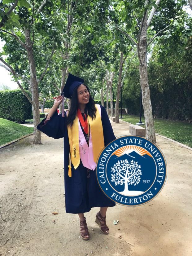 Kiara Velasquez, CypressCal State Fullerton: criminal justice major; psychology, minor (Photo courtesy of Kiara Velasquez)